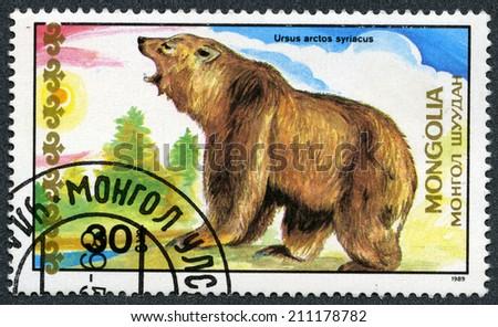 "MONGOLIA - CIRCA 1989: A stamp printed in Mongolia shows Syrian brown bear, ""Bears"" series, circa 1989  - stock photo"