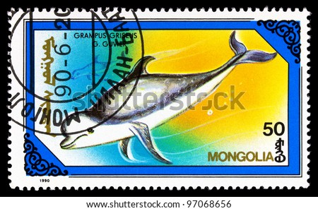 MONGOLIA - CIRCA 1990: A stamps printed in MONGOLIA showing fish, series, circa 1990