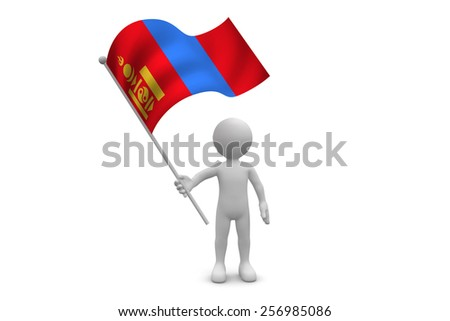 Mongolia Flag waving isolated on white background