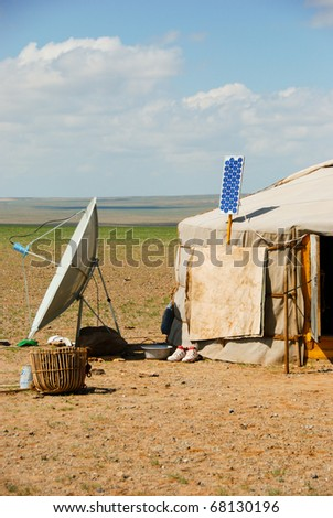 Mongolian Ger, Asia, Plateau, highlands - stock photo