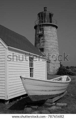 Monhegan Island Lighthouse, Black and White - stock photo