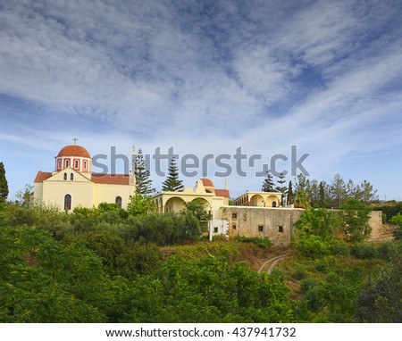 Moni Arsaniou. An old men's monastery, located 12 km east of Rethymno, in the Pangalochori community, possibly founded during the 2nd Byzantine period (961-1204). - stock photo