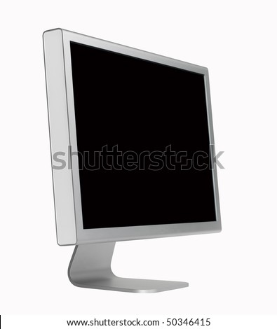 Monitor,aluminum,isolated with paths - stock photo