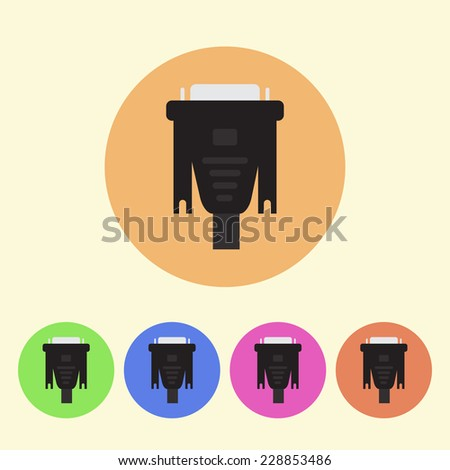 monitor cable flat colored round icons - stock photo