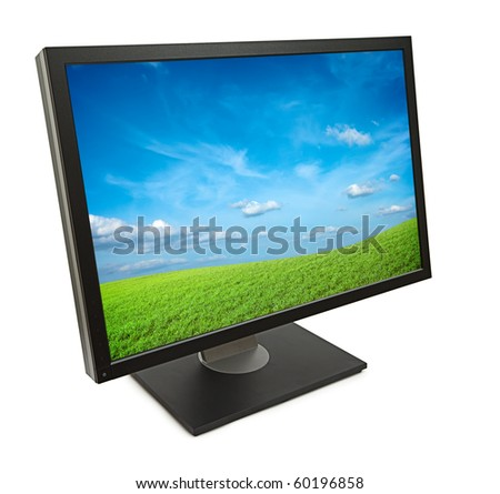 Monitor computer isolated - stock photo