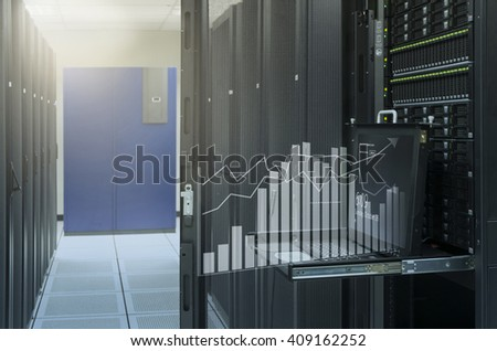 monitor console show virtual graph analysis of server in data center - stock photo
