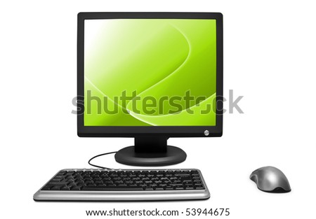 monitor mouse a keyboard is isolated on a white background - stock photo