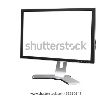 monitor on white with blank screen and clipping path - stock photo