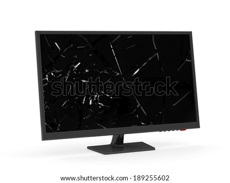 Monitor with Broken Screen isolated on white background - stock photo