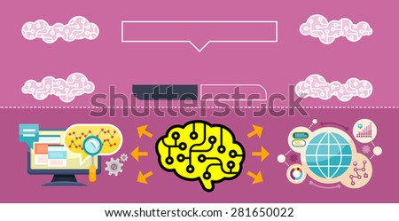 Monitor with charts and parameters. Business concept of analytics. Brain analyzes the incoming information. Web banners, marketing and promotional materials, presentation templates. Raster version - stock photo