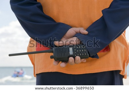 Monitoring of a coastal line - stock photo