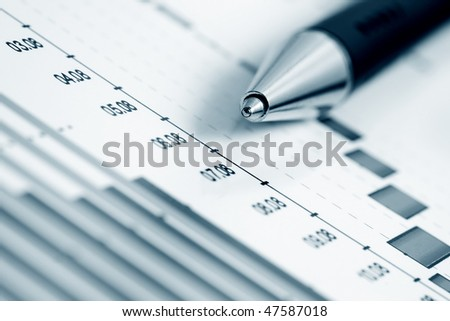 Monitoring of business graphs. - stock photo