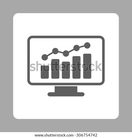 Monitoring raster icon. This flat rounded square button uses dark gray and white colors and isolated on a silver background. - stock photo