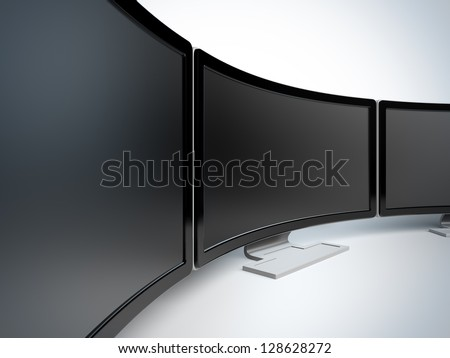 Monitors at white background. A 3d illustration blank template layout of curved wide monitors with black frame. - stock photo