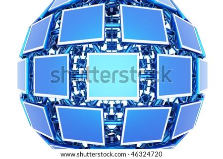 Monitors. Hi-res digitally generated image. - stock photo