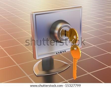 Monitors with keys. 3d - stock photo