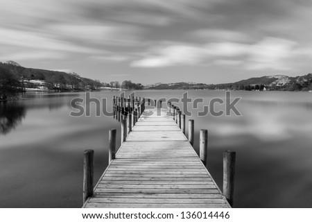 Monk Coniston jetty, the Lake District - stock photo