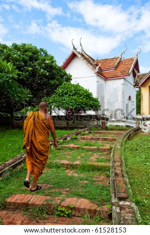 Monk go to the temple