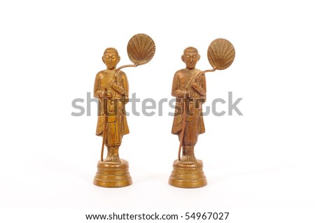 monk statue on white background - stock photo