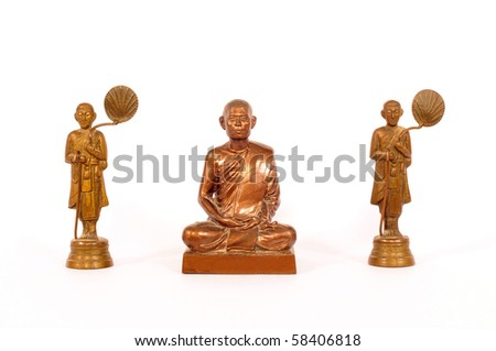 monk statue on white background - stock photo