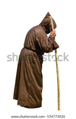 Monk with a Stick over the White Background