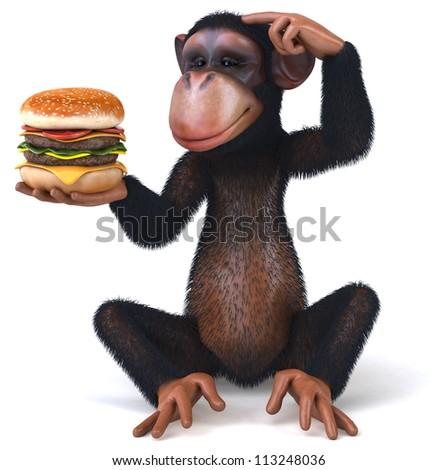 Monkey and hamburger - stock photo