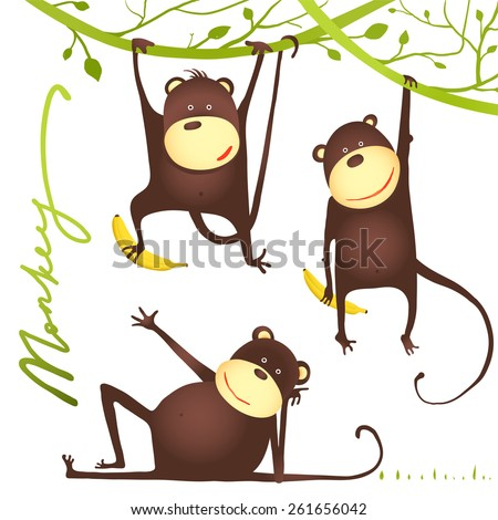 Monkey Fun Cartoon Hanging on Vine with Banana. Playing and showing poses amusing monkey. Raster variant. - stock photo