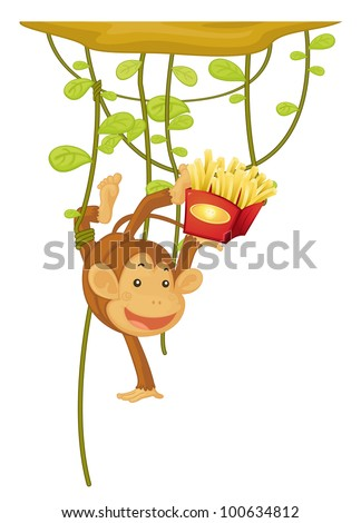 monkey hanging eating fries on white - EPS VECTOR format also available in my portfolio. - stock photo