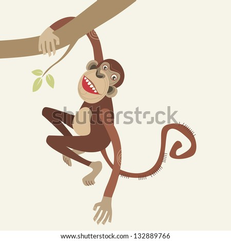 Monkey hanging from a tree branch. Abstract color Illustration in cartoon style with fantasy funny personage. Drawing stylized graphic background of wildlife and zoo with text box for presentation - stock photo