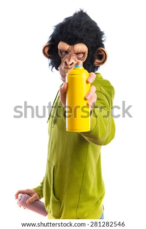 Monkey man with spray - stock photo