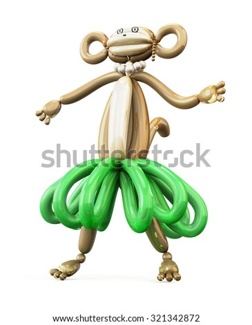 Monkey of balloons front view isolated on white background. 3d render image. - stock photo