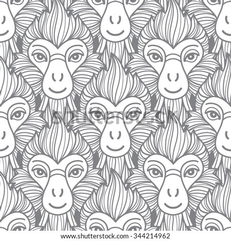 Monkey seamless pattern. Chinese zodiac symbol. Repeating monkey heads with fire looking hair. New Year of the fire or red monkey 2016 monochrome background. - stock photo