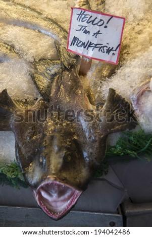 Monkfish on ice for sale at Pike Place Market, Seattle, Washington State, USA - stock photo