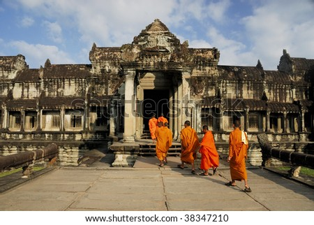 Monks, Angkor Wat - stock photo
