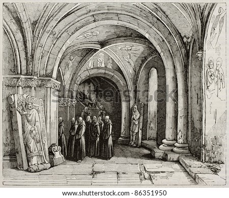 Monks carrying a coffin in Basel cathedral crypt. Created by Renoux, published on Magasin Pittoresque, Paris, 1843 - stock photo