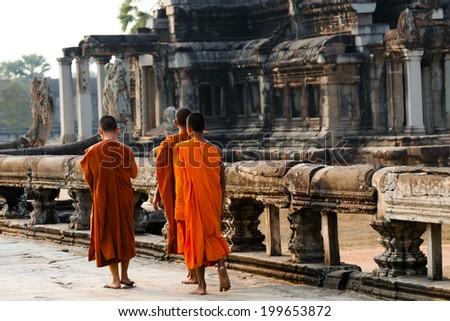 Monks - Luang Prabang - Laos - stock photo