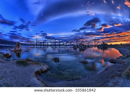 Mono Lake is a majestic body of water covering about 65 square miles. It is an ancient lake, over 1 million years old -- one of the oldest lakes in North America. - stock photo