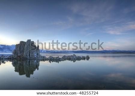 Mono lake Tufas. HDR composite of 7 exposures of mono lake tufas shot at dusk - stock photo