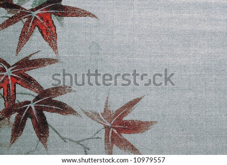 Monochromatic Asian Background in black and white with hand-tinted maple leaves