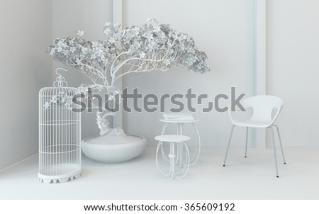Monochromatic corner decoration in a classic interior with an empty bird cage, potted plant chair and small nest of tables in cool white. 3d Rendering. - stock photo
