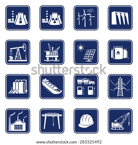 Monochromatic icons set of industries, construction and energy production. Raster version - stock photo