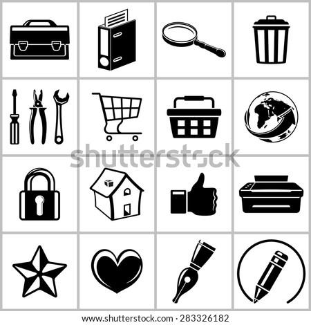 Monochromatic set of useful web icons. Raster version - stock photo