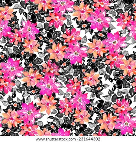 Monochrome beautiful floral seamless pattern  - stock photo