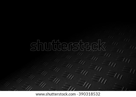 monochrome diamond plate with lighting and drop of paint on black shadow background. - stock photo