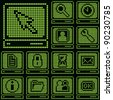 monochrome fluorescent dot-based icon set with terminal symbol for control screens, terminals, information boards and web design. more icons are available. raster version - stock photo