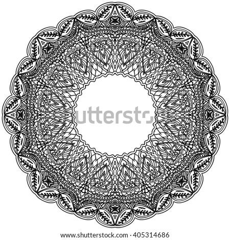 Monochrome frame mandala. Design black element in the Indian style isolated on white background. Rasterized version. - stock photo
