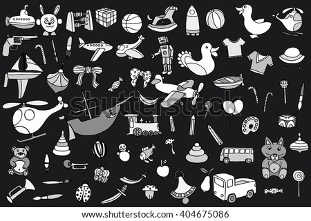 Monochrome Funny baby toys set. art doodle collection of hand drawn icons for baby shower or scrapbook - stock photo