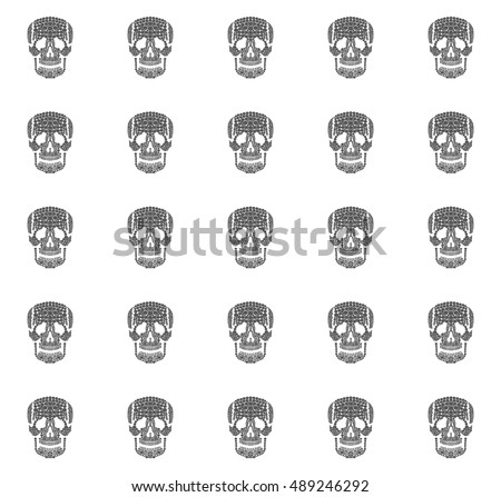 Monochrome human skulls seamless pattern on white background, outline flat death symbol, abstract illustration