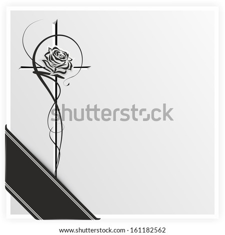 monochrome illustration of a rose on a cross with ribbon - stock photo