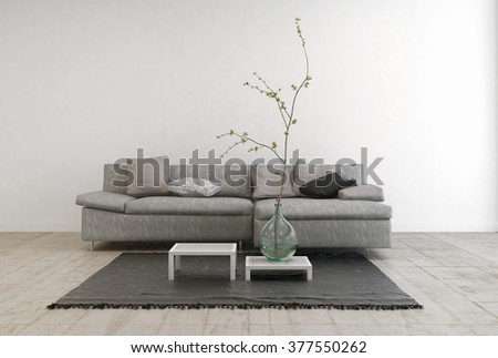 Monochrome Image of Contemporary Furniture in Spacious Living Room with Wooden Floor - Gray Sofa with Tables and Hanging Lamp in Large Living Room with White Walls and Copy Space - stock photo